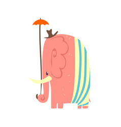 Cute pink cartoon elephant girl with umbrella and vector