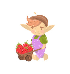 Cute troll boy character with wooden cart full of vector