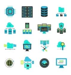 Datacenter flat icons set vector