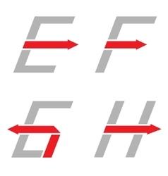 E f g h letters vector