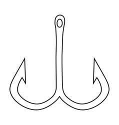 Fishing hook icon in outline style isolated on vector image