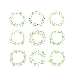 frames with berries fruit and leaves vector image