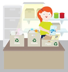 Girl separating trash vector