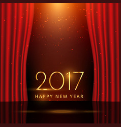 Golden 2017 new year wish on stage with curtains vector