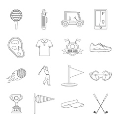 Golf items icons set outline style vector image
