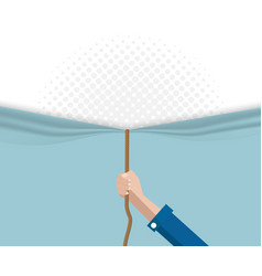 Hand pull rope open half tone background vector
