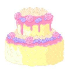 Icon two-level delicious wedding cake in cartoon vector