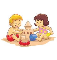 kids build sandcastle vector image