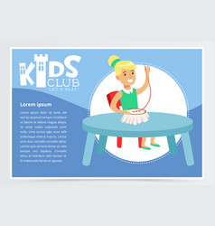 Kids club poster with cute girl character sitting vector