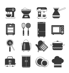 Kitchen Icons Black And White Set vector image