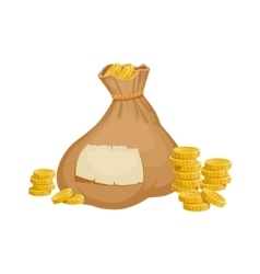 Large heavy closed sack with golden coins hidden vector