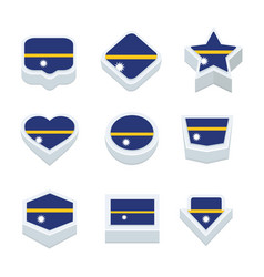 Nauru flags icons and button set nine styles vector