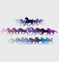 set of colorful running horses silouettes vector image