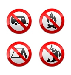 set prohibited signs - turism vector image