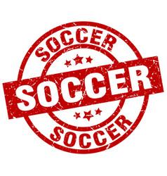 Soccer round red grunge stamp vector