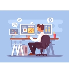 Stock trader sits in armchair vector