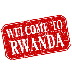 Welcome to rwanda red square grunge stamp vector