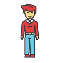 Young man standing student freelancer concept vector