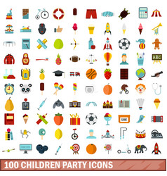 100 children party icons set flat style vector image vector image