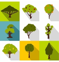 Types of trees icons set flat style vector image