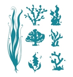 Underwater sea corals and algae silhouettes vector