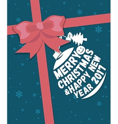 Merry christmas greeting card with ribbon vector