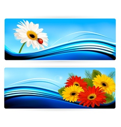 Nature banners with color flowers vector