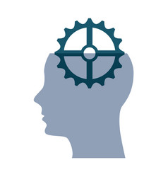 human profile with gear vector image