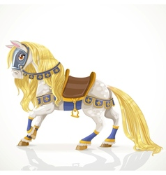 Royal horse with a golden mane in harness vector
