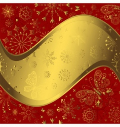 red and golden Christmas frame vector image