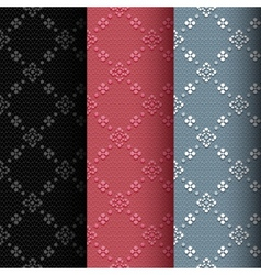 Collection of 3 vintage seamless classic pattern vector