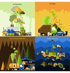 Pollution design set vector