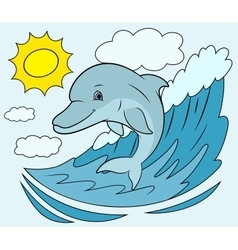 Smiling dolphin jumping 5 vector