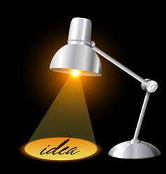Table lamp illuminating and idea concept vector