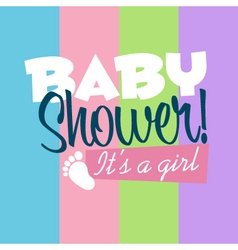 Baby girl shower greeting card vector