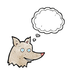 Cartoon wolf head with thought bubble vector