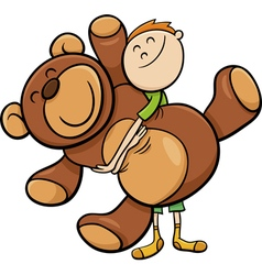 Boy with big teddy cartoon vector