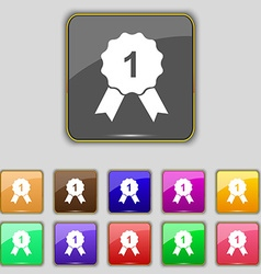 Award medal icon sign set with eleven colored vector