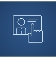 Hand pushing touch screen button line icon vector