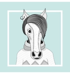 Fashion of horse hipster vector