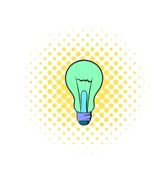 Light bulb icon in comics style vector image