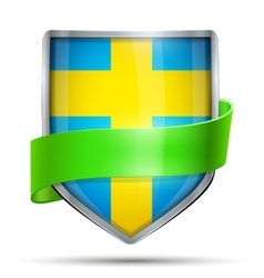 Shield with flag sweden and ribbon vector