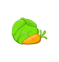 Cabbage and carrots icon cartoon style vector