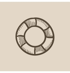 Lifebuoy sketch icon vector