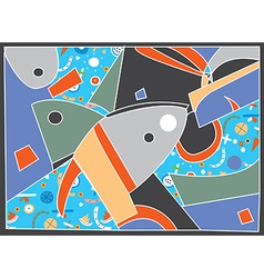 Abstract background with fish motive vector image vector image