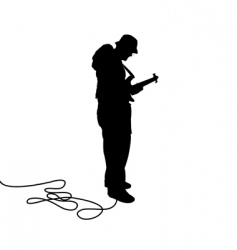 bassist silhouette vector image vector image