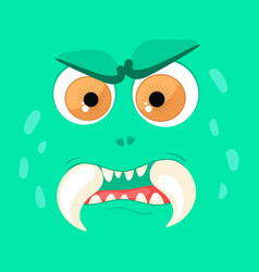 Cartoon monster face halloween green angry vector