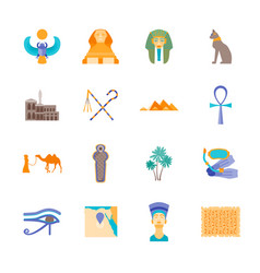 cartoon symbol of egypt color icons set vector image