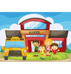 Children standing in the school campus vector image vector image