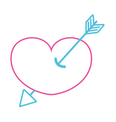 color line arrow design inside heart love icon vector image vector image